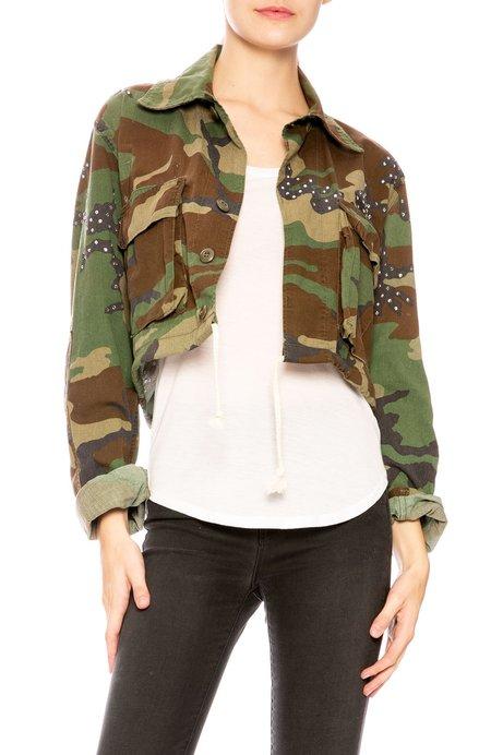 Royal Workshop Janet Studded Cropped Jacket - Camo
