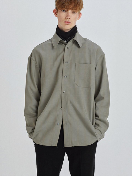 HALEINE Check Wool Shirts - Khaki Grey