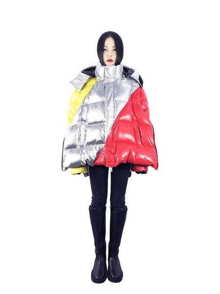 CHRISTOPHER RAXXY Future Code Deconstructed Oversized Down Coat - Silvery