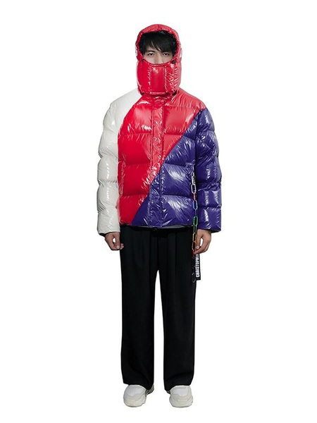 CHRISTOPHER RAXXY Caritas Deconstructed Oversized Down Puffer Coat - Red Tone