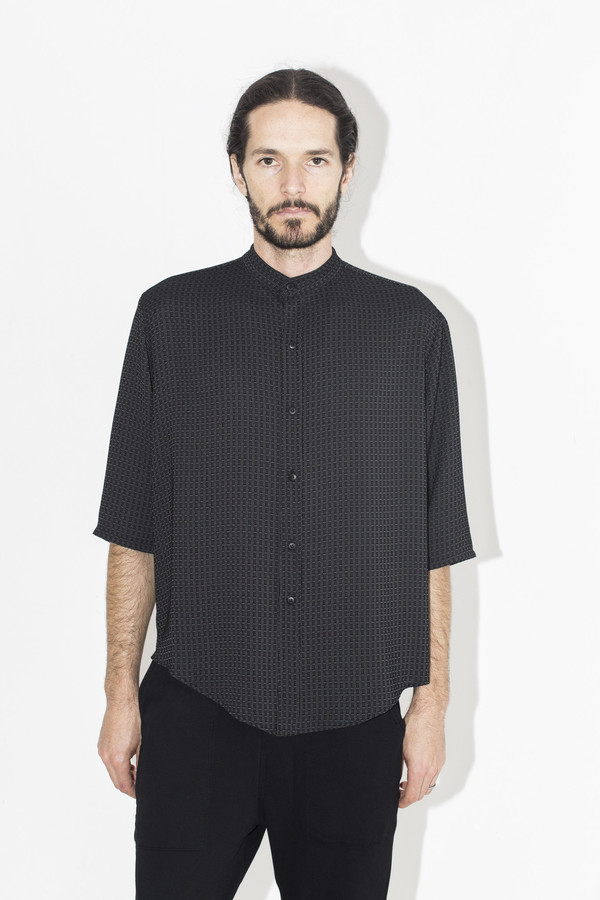 Men's Assembly New York Pattern No Collar Shirt