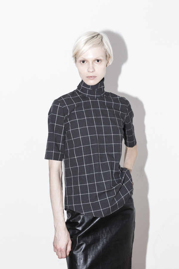 Assembly New York Plaid Reverse T Neck