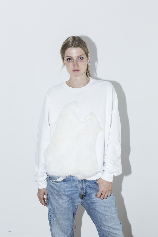 Assembly New York White Fur Sweatshirt