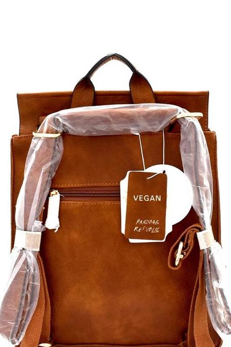 Bag Boutique Vegan Leather Convertible Backpack - Mustard