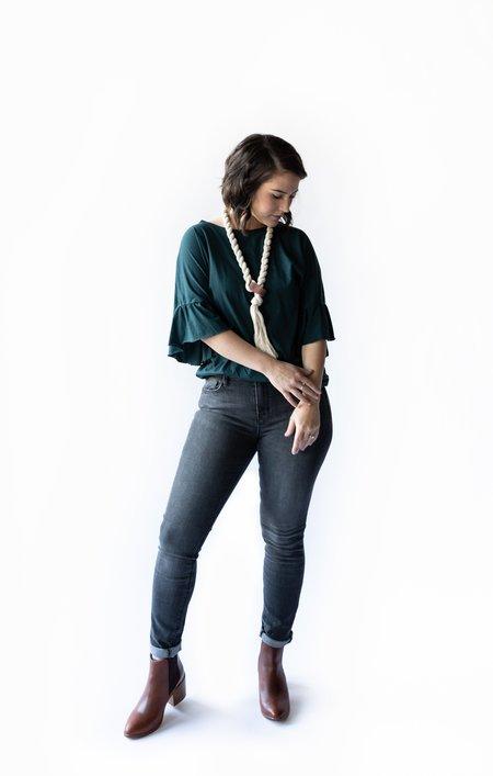 LA Made Erin Ruffle Sleeve Tee - Mesmerize Green