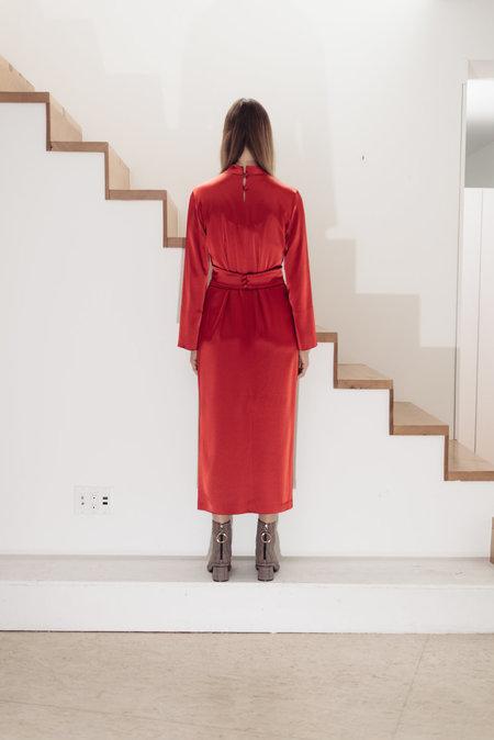 NANUSHKA Sadie Long Sleeve Belted Dress - red