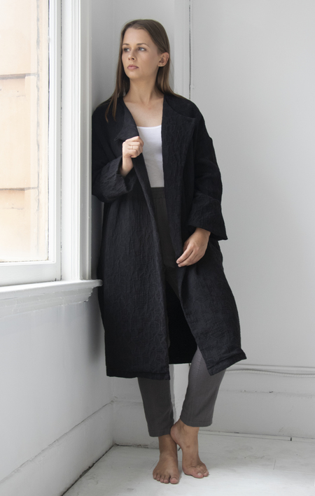 Black Crane Oversized Coat - BLACK