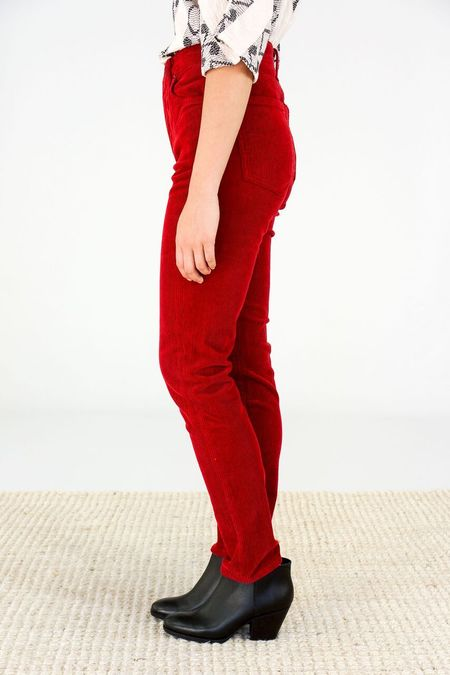 Citizens of Humanity High Rise Slim Ankle Corduroy Pants - Dark Ruby