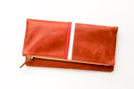 Clare V. Italian Cognac Leather Desert Clutch - Red/Cream Stripe