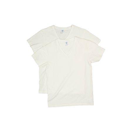 Velva Sheen 2 Pack V Neck Plain Tee - White