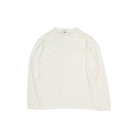 Velva Sheen Crewneck Long Sleeve Pocket Tee - White