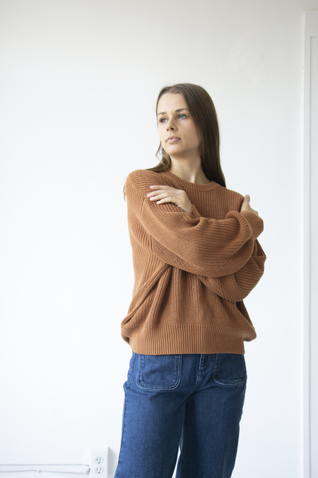 7115 by Szeki Poet Sleeves Ribbed Sweater - Rust