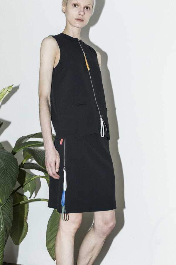 C.F. Goldman Black Zip Skirt