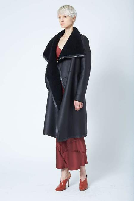 Anne Vest Serenity Coat with Zipper - Black