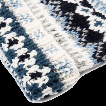 Unisex Chamula Fair Isle #3 Double Cuff Cap - Ivory