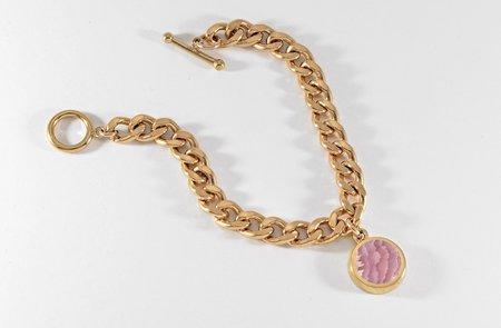 Legier Rhodochrosite Round Stone Signet Pendant & Bracelet