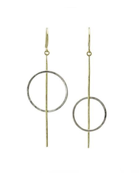 SOPHIE HUGHES Threaded Hoop Dangles - 18K Grey/Yellow Gold