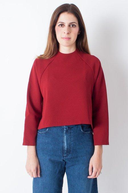 KAAREM Ostra Long Sleeve Raglan Top - Crimson Red