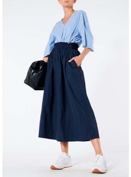 Tibi Nylon Shirred Waist Skirt - Navy