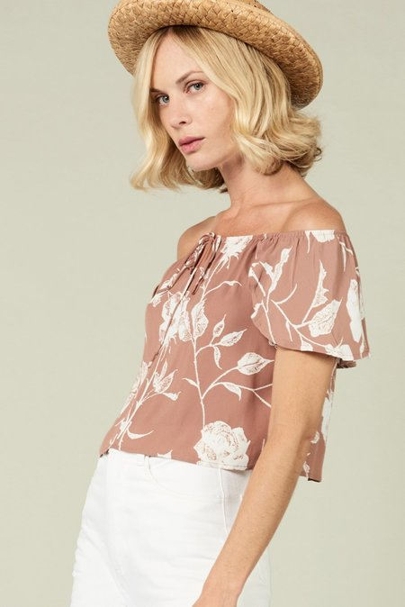 Whimsy & Row Jeanne Off Shoulder Crop - Mauve Floral