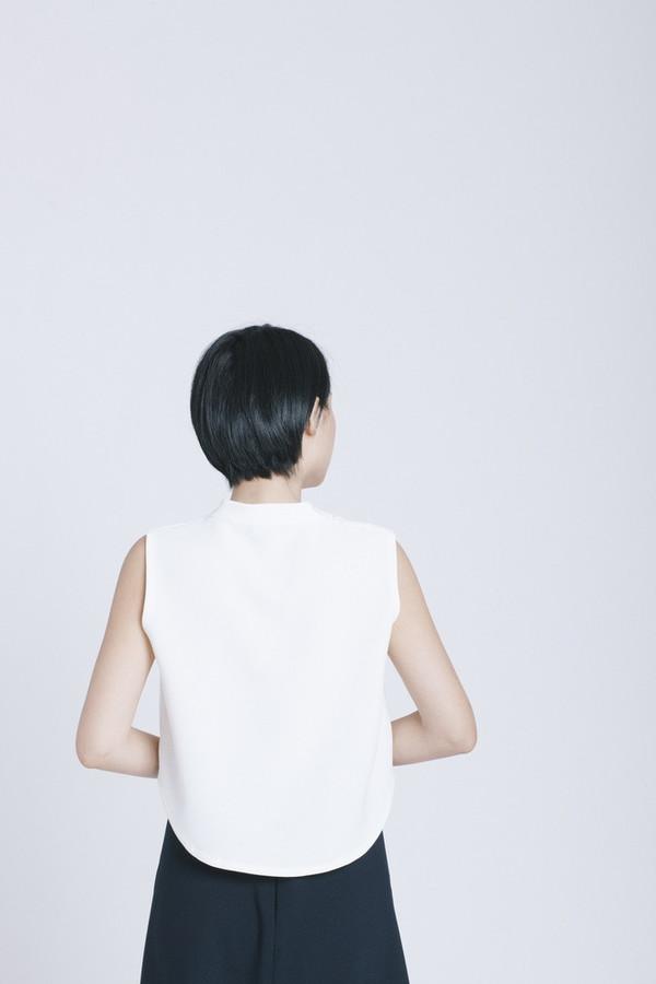 Kaarem White Chime Collar Top