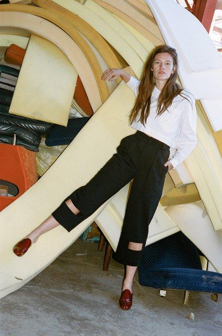 Nancy Stella Soto Rectangle Cut Out Denim Trouser - Black
