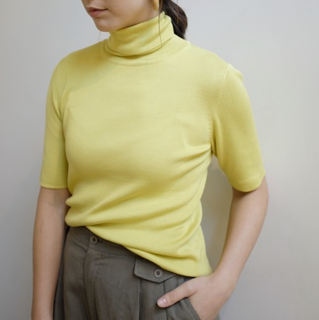 Hey Jude Vintage Silk Turtleneck - Lemon/Lime