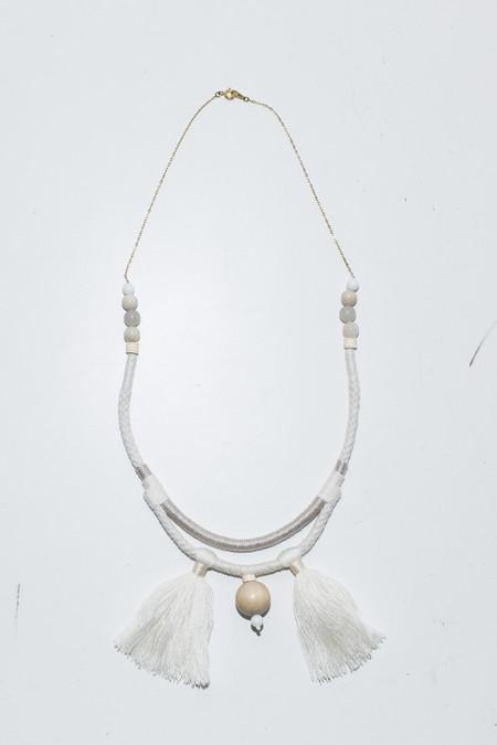 Ora-C Valeria White Double Cords 2 Tassel Necklace