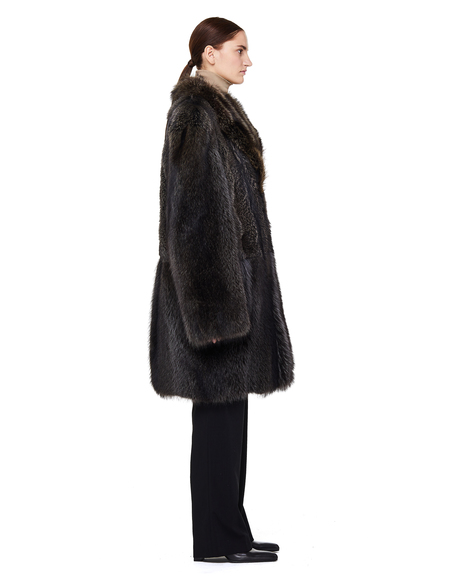 Yves Salomon Fox Fur Trimmed Raccoon Coat