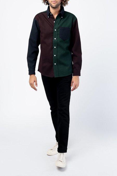 Aime Leon Dore Color Blocked Chamois Sport Shirt - Maroon
