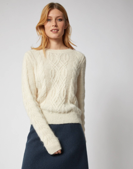 Lanius Sweater With Plait Pattern - Off White