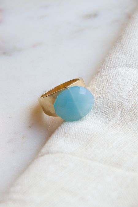 A.V. Max Aqua Quartz Ring - 22k Gold Plated Brass
