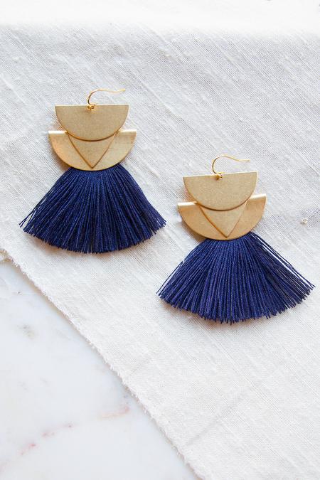 Sandy Hyun Diamond Canyon Earrings - Navy