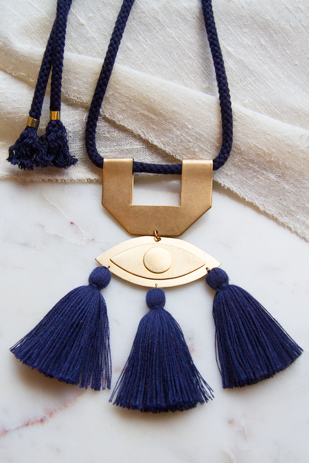 Sandy Hyun Eye Pendant Necklace - Navy