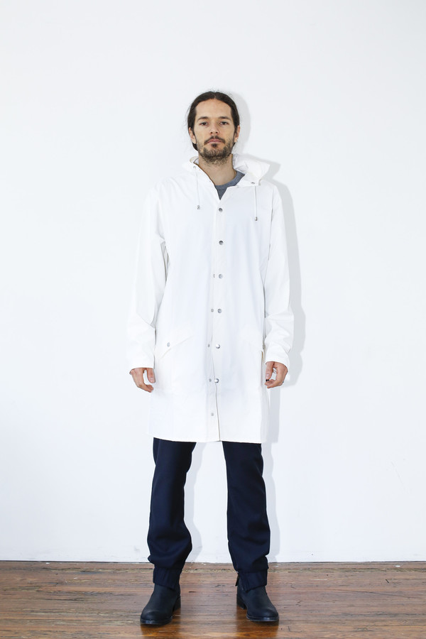 Unisex Rains White Hooded Rain Coat