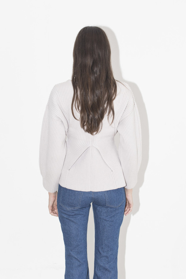Sayaka Davis Ivory Peplum Sweater