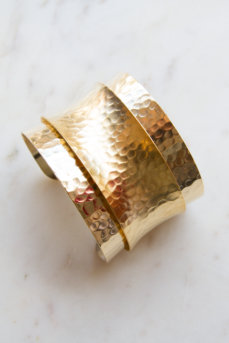 A.V. Max Hammered Layered Cuff - Gold