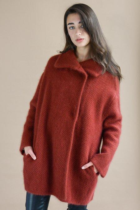 360 Cashmere Elsie Oversized Wool Blend Coat - Mahogany