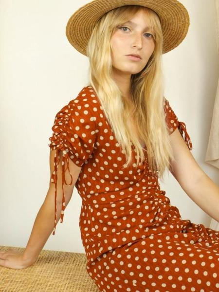 J.O.A. Polka Dot Cinched Dress - Rust
