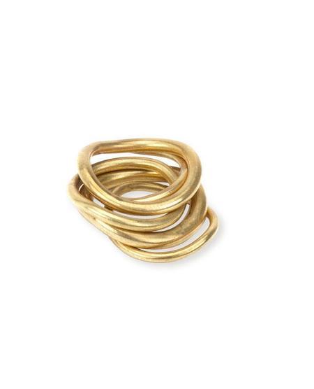 Soko Wavy Ring Stack - Brass