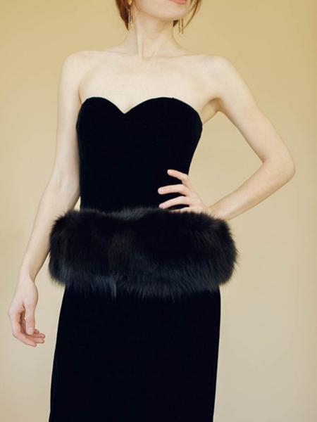 Bogatte Vintage Velvet & Fox Fur Strapless Dress - BLACK