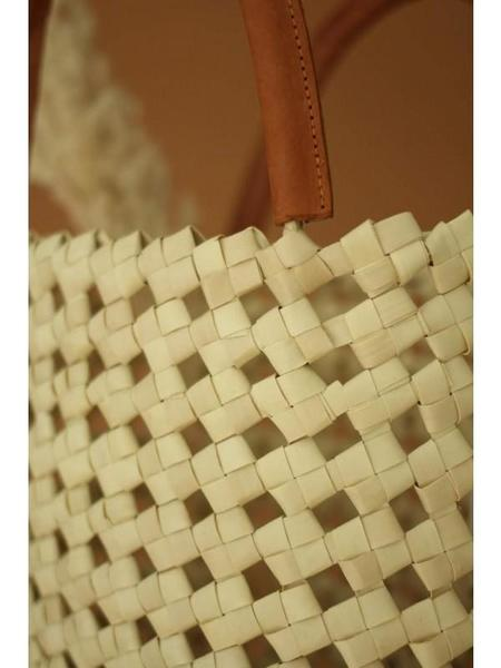 Ellen & James Woven Raffia Tote with Leather Handles