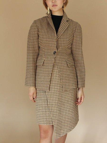 Jovonna Checkered Wool Blazer - YELLOW