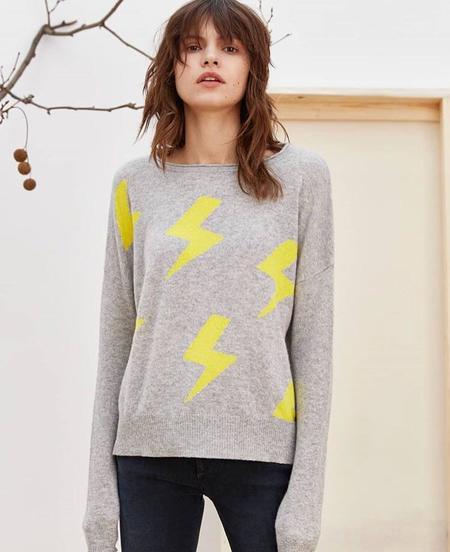 Charli Charlo Lightening Pullover - Light Grey/Yellow