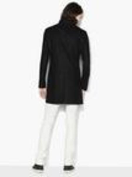 John Varvatos Lapel Overcoat - Black