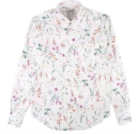 Naked & Famous Regular Shirt - Flower Painting/White