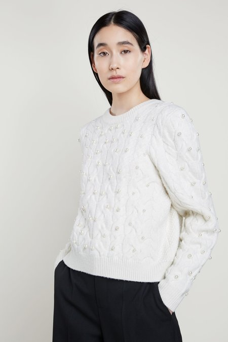 SET Knitted Pullover with Pearls - Pristine