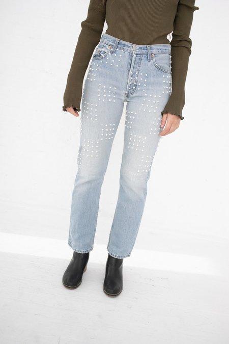 B Sides Classic Hand Knot Checker Board Jeans - Medium Faded Indigo