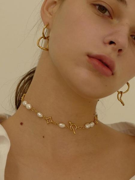 FLOWOOM Diamant Pearl Choker - Gold/White