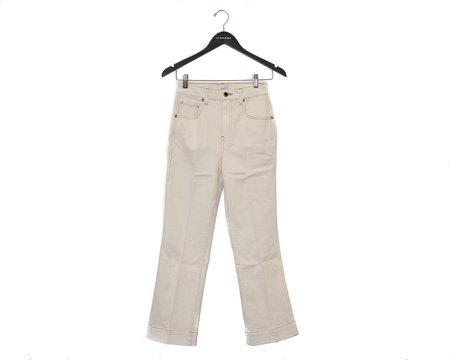 Khaite Fiona Cropped Flare Pant - Ivory